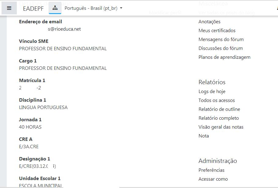 tela do perfil do usuário